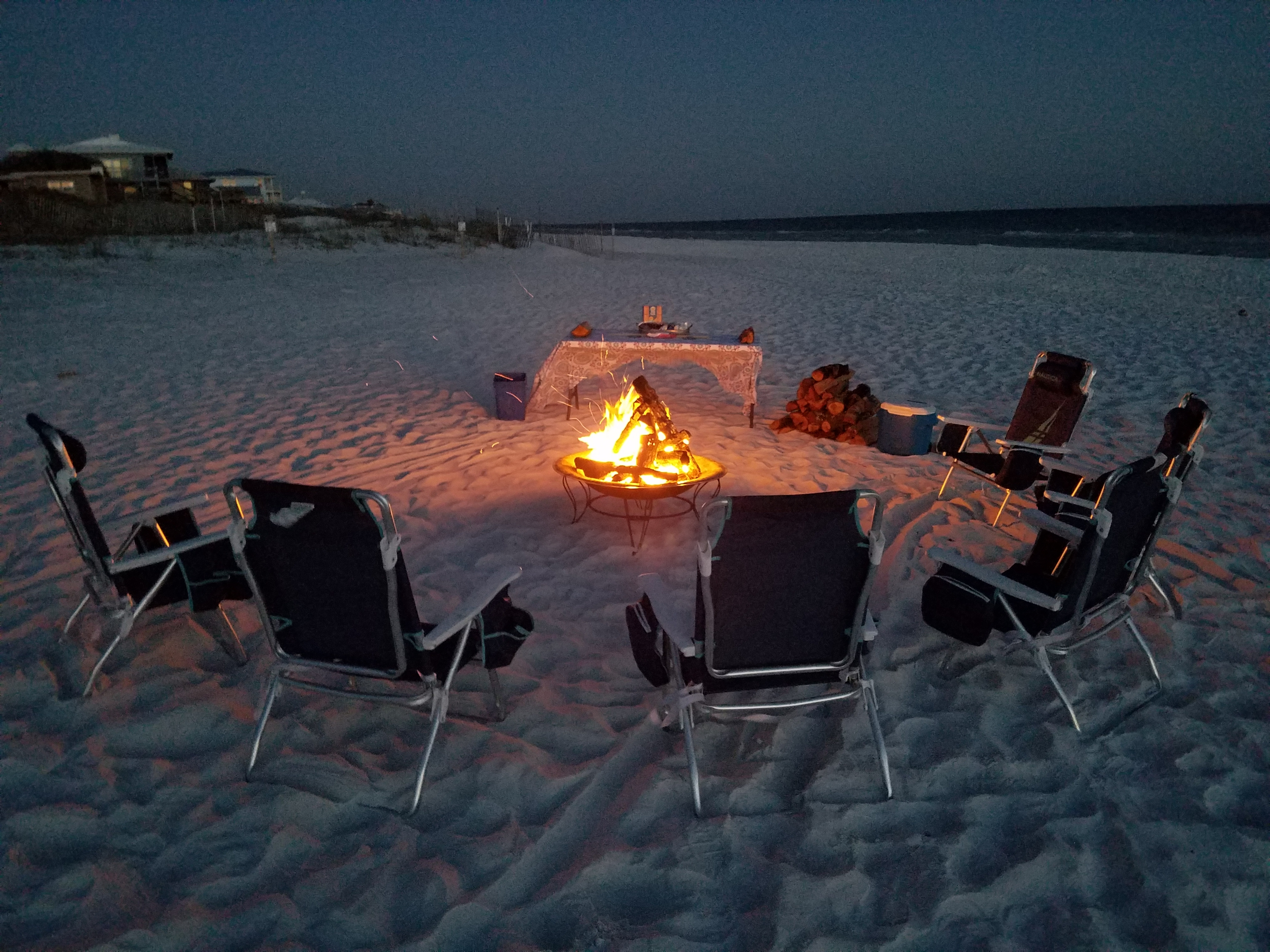 30a beach fire with table and smores The Rental Shop 30A