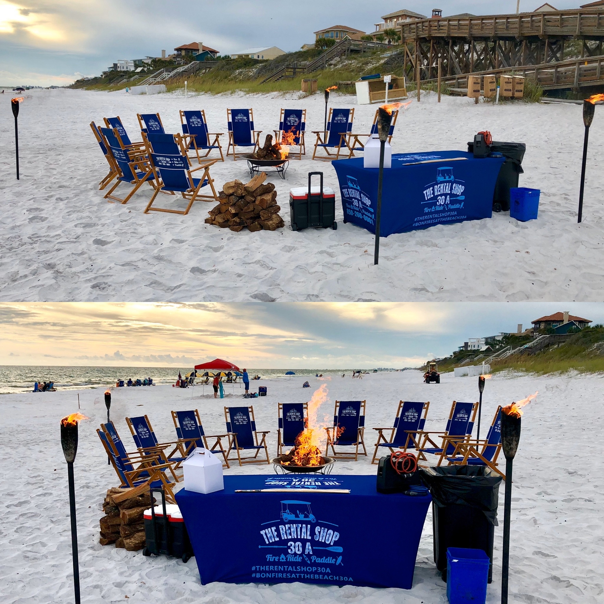 The rental Shop 10 chair beach bonfire package