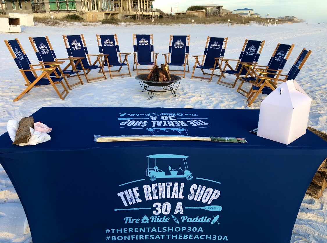The Rental Shop 30A offers bonfires on the beach in Santa Rosa Beach and Destin Florida